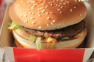 hamburger in een kartonnen doos