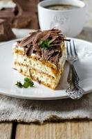 Sponge cake with cream and chocolate