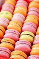 French colorful macarons background