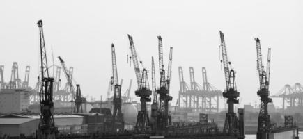 hamburg harbor cranes in black and white