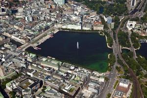 vista aérea do lago alster em hamburgo