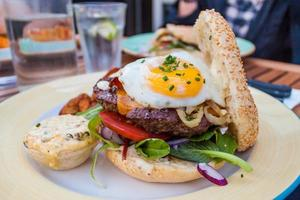 Beefburger with egg photo
