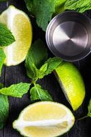 Fresh lime and ice with mint
