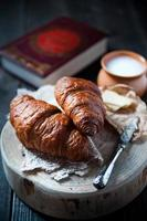 Fresh healthy croissant for breakfast photo