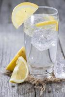 A tall glass of sparkling water with lemon wedges photo