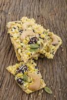 Organic granola bar with nuts and dry fruits