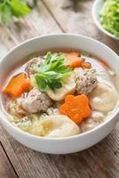 Clear Soup with Vegetables and Meatballs.