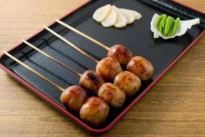 Thai Traditional Grilled Sausages on Wooden Skewer