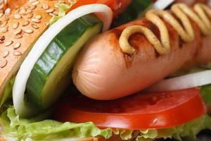 Hot dog with sausage, vegetables macro. horizontal