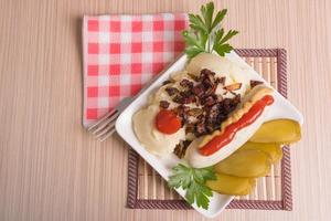 Bavarian or Munich sausage with mashed potatoes photo