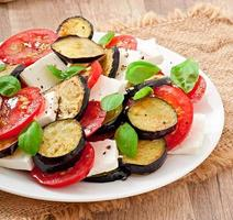 eggplant salad with tomato and feta cheese