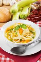 Healthy vegetable and noodle soup