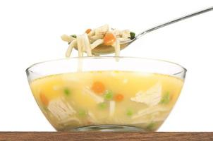 Spoonful of Chicken noodle soup raised above bowl-close up,isolated