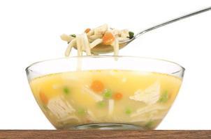 cucharada de sopa de fideos con pollo levantada sobre un tazón de cerca, aislado