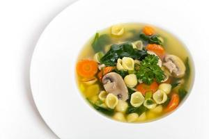 Vegetable soup with spinach and pasta photo