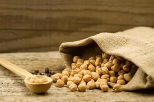 scattered chickpeas from a jute bag on old wooden background