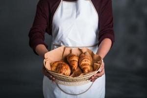 Basket with fresh pastries