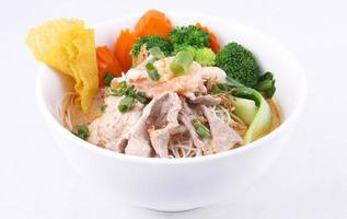 Laksa noodle soup with chicken,