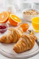 Breakfast with delicious French croissants