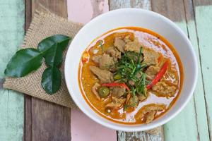 Red savory curry paste with pork