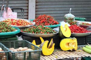 Street market with vegetables photo