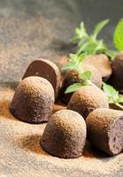 Homemade chocolate truffles with mint