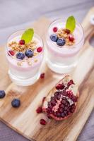 Delicious dessert with fruits and flakes photo