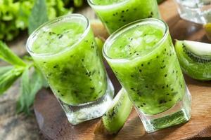 Fresh green smoothie with kiwi, cucumber