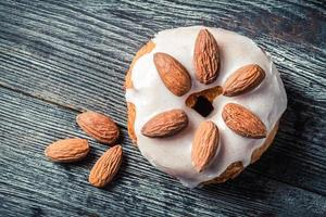 Closeup of donut with almond