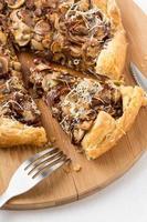 delicious mushroom pizza on cutting board