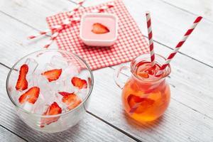 Fresh strawberry juice with ice.