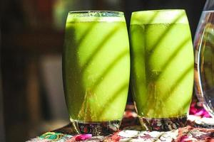 Arty hippie bright green smoothies