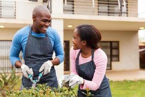 black couple gardening