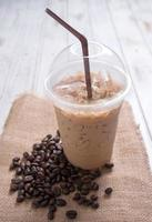 Iced coffee with coffee beans photo