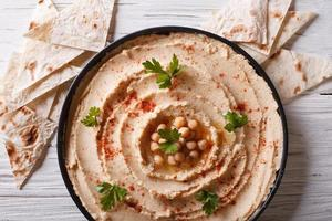 Classic hummus close-up and pita. Horizontal top view