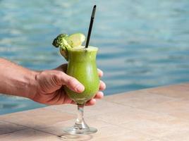 Brocoli and apple health juice photo