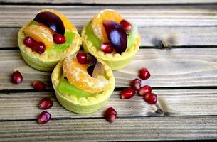 Fruit tart on table photo