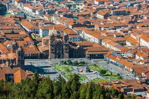 aerial view of Plaza de Armas Cuzco city peruvian Andes photo