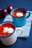 Ukrainian and russian national red soup borsch closeup photo
