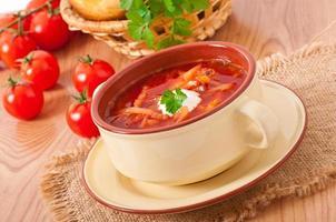 Ukrainian and russian national red soup-borsch closeup
