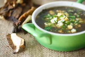 sorrel soup with dried mushrooms photo