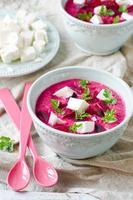 Beet cream soup with feta photo
