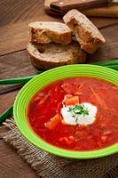 Traditional Ukrainian Russian vegetable borscht soup
