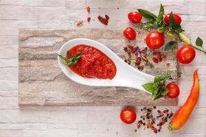 Tomato chutney with ingredients photo