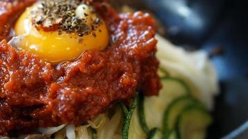 bibimbap, Korean hot mix side dishes food photo