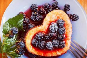 Sweet berry omelet, dessert photo