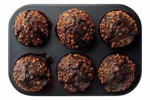 Dark chocolate muffins photo