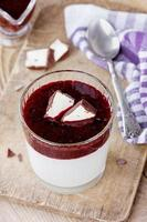 Dessert with ricotta cheese and black currant sauce