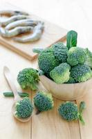 Ingredient of broccoli and shrimp