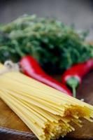 Raw spagetti pasta photo